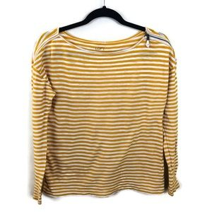 🌹Ann Taylor LOFT Yellow Striped Top Sz L